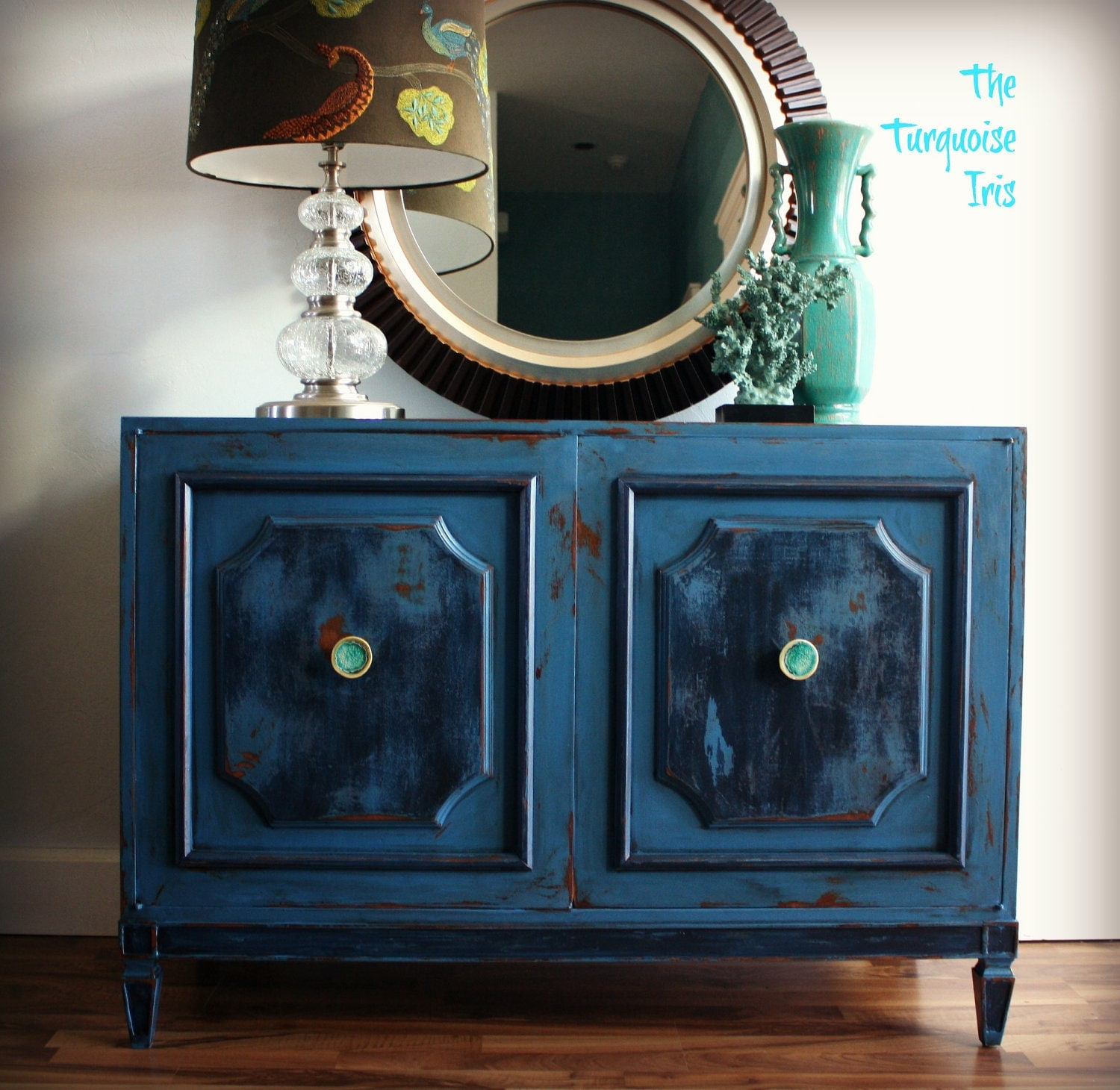 Blue Foyer Cabinet : Blue two toned cabinet media console foyer