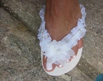 Reduced Price.Bridal Flip Flops.Wedding Flip Flops.Wedges/Platform Flip Flops for Bride.White Flip Flops.Beach Weddings.Bling Shoes.