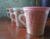 Colorful Mid Century Modern Thermal Raffia Coffee Cups - Set of 4