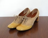 1960s vintage heels - size 6 - mustard yellow patent leather and suede