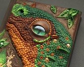 Baby dragon polymer clay leather journal - dinosaur green dragon eye golden scales A6