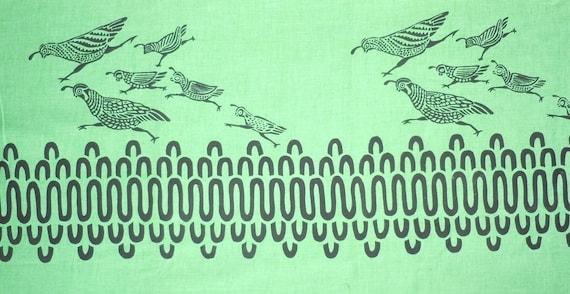 Vintage Harwood Steiger Hand Printed Fabric Six Quail Spring Green