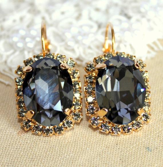 Crystal black gold and white earring - 14k plated gold earrings real swarovski rhinestones .