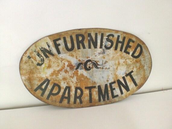 Vintage Metal Sign Unfurnished Apartment Large Industrial