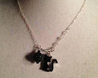 Black Cat Necklace - Sterling Silver Jewelry - Mod Jewellery - Funky - Chain - Pendant