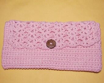 Peach Cotton Crochet Purse