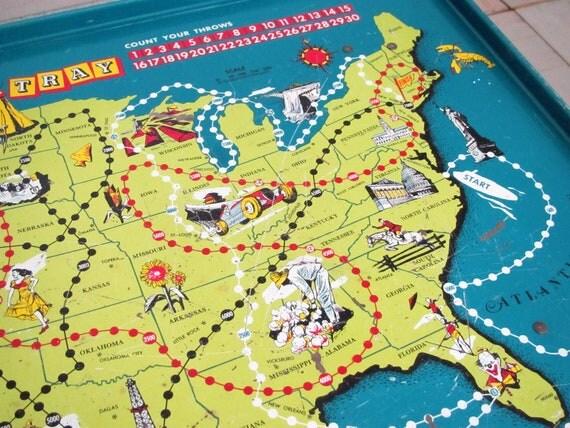 Vintage Replogle Play Tray ........map of USA......graphics..........game