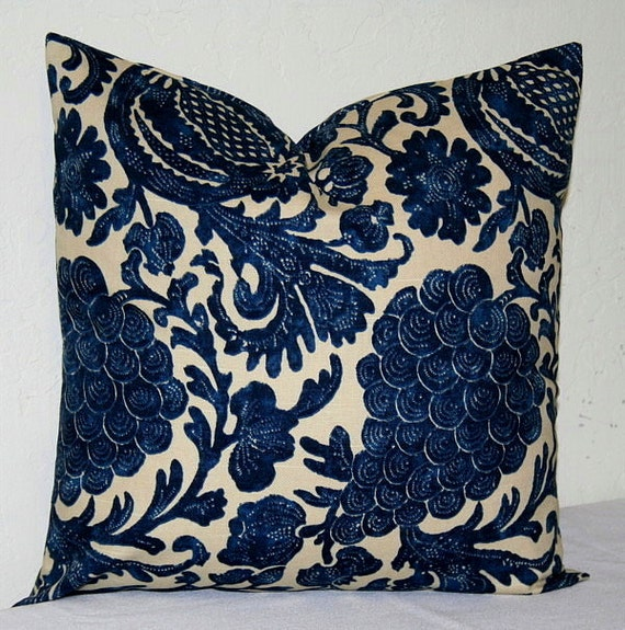 Decorative Pillows Navy Blue : Navy Blue and Beige 18x18 inch Decorative Pillows by PatsTable