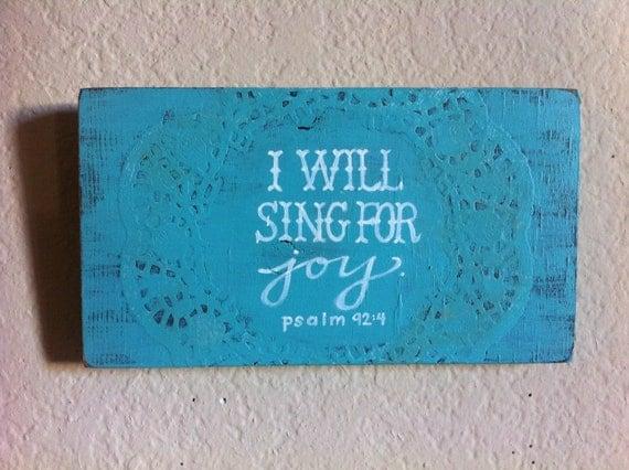 SALE - Bible Verse Art - I Will Sing for Joy - Ready to Ship - Christian Art, Scripture Art - Blue