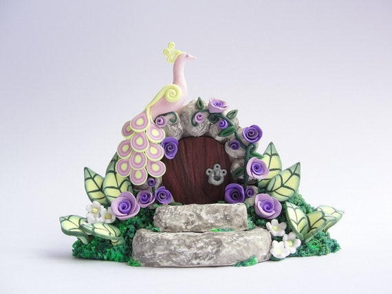 Miniature peacock fairy door gate with lilac roses hand made from polymer clay