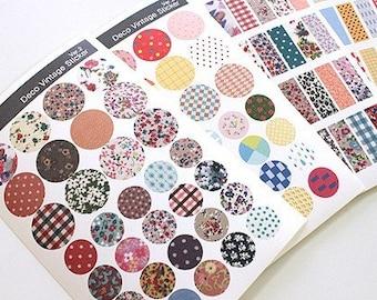 6 Sheets Korea Pretty Sticker Set - Colorful Paper Deco Vintage Sticker Ver.2