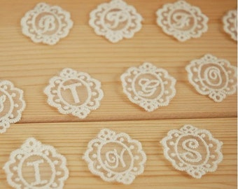 26 Pcs Letters Lace Fabric Trim Lace Fabric Trim Embroidery Lace Gauze Sets