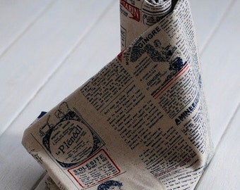 Cotton Linen Fabric Cloth -DIY Cloth Art Manual Cloth -Newspaper In English 55x19 Inches