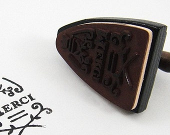 Wooden Rubber Stamp - Vintage Style - Electric Iron - Merci