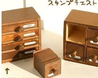 2 Pcs Wooden Rubber Stamp - Vintage Style -Drawer