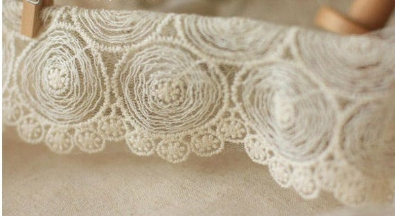 White Embroidery Lace Trim Nets Yarn Lace Cotton Embroidery  1Yard 12.5cm Wide