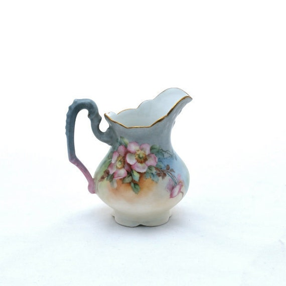 Antique Creamer AK France Porcelain Small Floral Gold Trim Handpainted