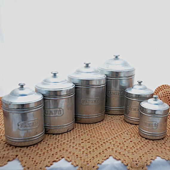vintage canisters kitchen set of six aluminum
