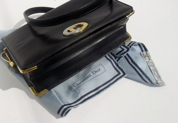 Gorgeous Rare --Vintage CHRISTAIN DIOR ---Navy Blue Leather Purse --Coin Purse and Silk Scarf --RARE