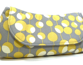Clutch Purse - Gray Yellow Circles and Lines Fold Over Clutch, Party Clutch, Bridesmaids Clutch