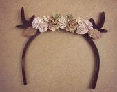 Brown Short deer flowers headband