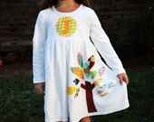 Toddler Fall Dress - Personalized Dress with Tree Applique - You Choose Dress Color and Sleeve Length