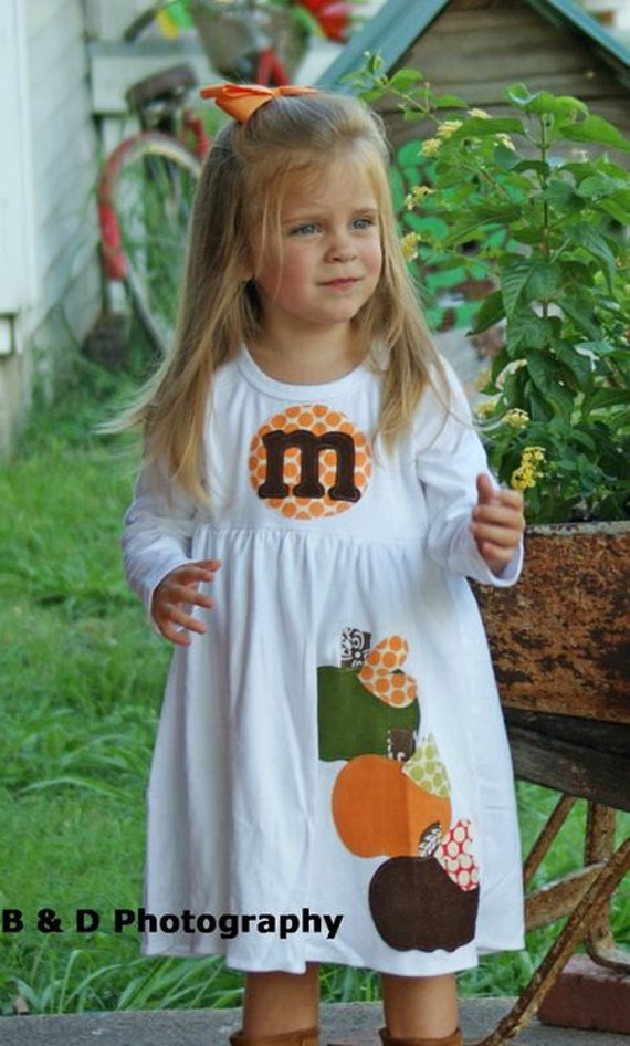 Fall Applique Dress - Toddler Dress or Girl's Dress- Personalized Dress with Three Pumpkin Appliques -Choose Dress Color and Sleeve Length
