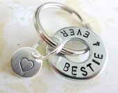 BESTIE 4 EVER Washer Key Ring and Sterling Silver Heart Disc