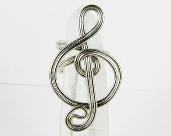 Ear Cuff - Treble Clef - Silver, Gold, Purple, Brass, Magenta, Red, Green or Copper