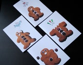 Funny gingerbread men christmas cards set of 4 designs