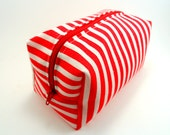 Red and White Striped  Makeup Bag, Cosmetic Pouch, Pencil Case,  Zippered, Travel, On the go, For her, Under 10, Cute, Small - ellebeetree