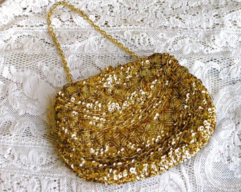 Vintage Gold Beaded Evening Purse, Mother of the Bride Purse, or Holiday Purse