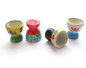 Set of 4 Miniature Dollhouse Painted Egg Cups for DIY Miniature Craft, Egg Holder, Kitchenware - Set B