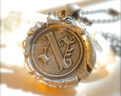 Edwardian Silver Wax Seal Jewelry Initial Pendant .  Mens Jewelry . Gothic. Olde English .