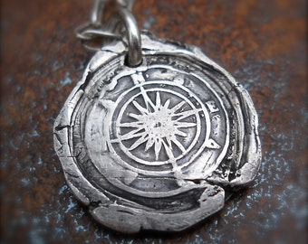 Compass Pendant, Wax Seal Jewelry, TRUE NORTH Talisman, Focus & Direction, Sterling  CELEBRITY Favorite, Mens Gift, Jewellery