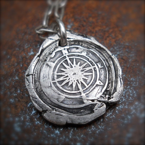Wax seal necklace true north wax seal compass pendant like this item mozeypictures Choice Image