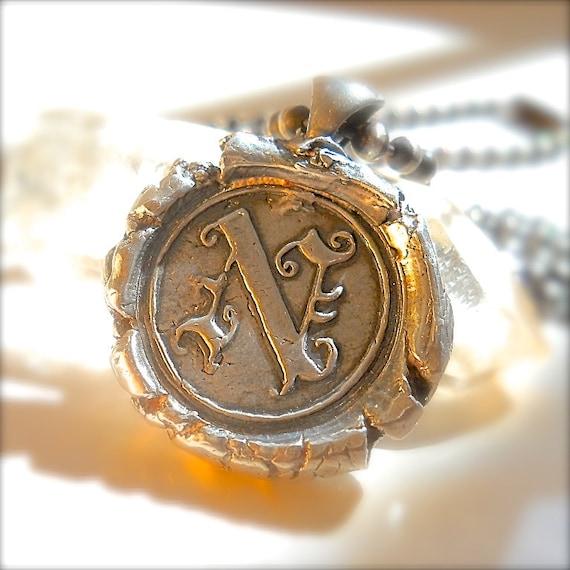 edwardian silver wax seal jewelry jewelry initial pendant