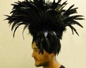 FEATHER Mohawk Tribal Gothic RAVEN SHOWGIRL Headdress Headpiece