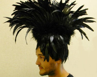 FEATHER Mohawk Tribal Gothic RAVEN SHOWGIRL Headdress Headpiece