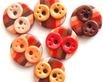 Buttons Striped Fall Doodles handmade polymer clay buttons ( 6 )