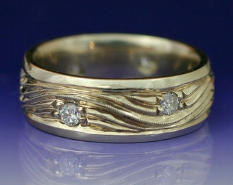 WATER AND ICE - Wave Wedding Band in 14k White Gold and set with natural diamond