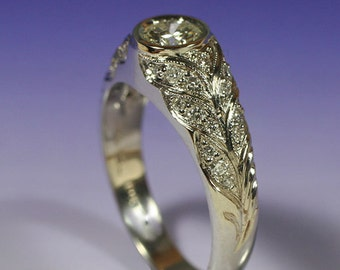 DIAMOND PAVE' PETALS - 18k White Gold.  This ring is ready to ship