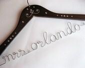 Personalized Wedding Name or Date Hanger, Bridal Hanger with Flower or Rhinestones Decoration - Wire Hanger, Wedding Hanger