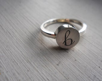 engraved initial ring letter ring sterling silver jewelry lowercase initial ring personalized ring name ring