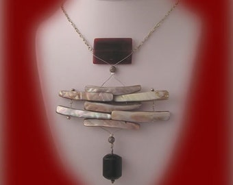 """Necklace & Earring Set, """"Desire"""" - Shell, Agate, Sterling Silver"""