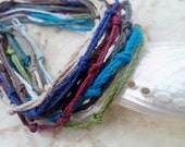 Lot of Four Hippie Knotted Colorful Hemp Bracelets/Unisex Bracelets or Ankle Bracelets