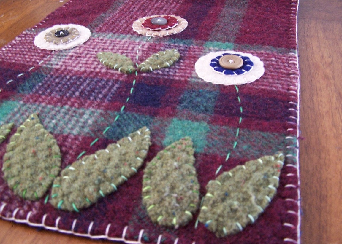 Primitive Flower Penny Rug Table Runner Reclaimed Wool Felt