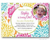 Butterfly Floral Garden Birthday Party Photo Invitation for a Girl - diy printable digital design