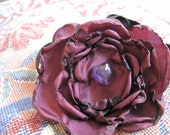 Satin Flower Headband in Pansy Purple With Amethyst Heart-Shaped Accent