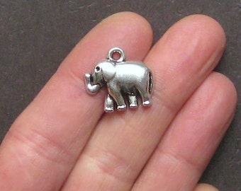 8 Elephant Charms Antique  Silver Tone - SC473